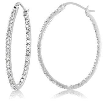 Diamond Accent Sterling Silver Hoop Earrings