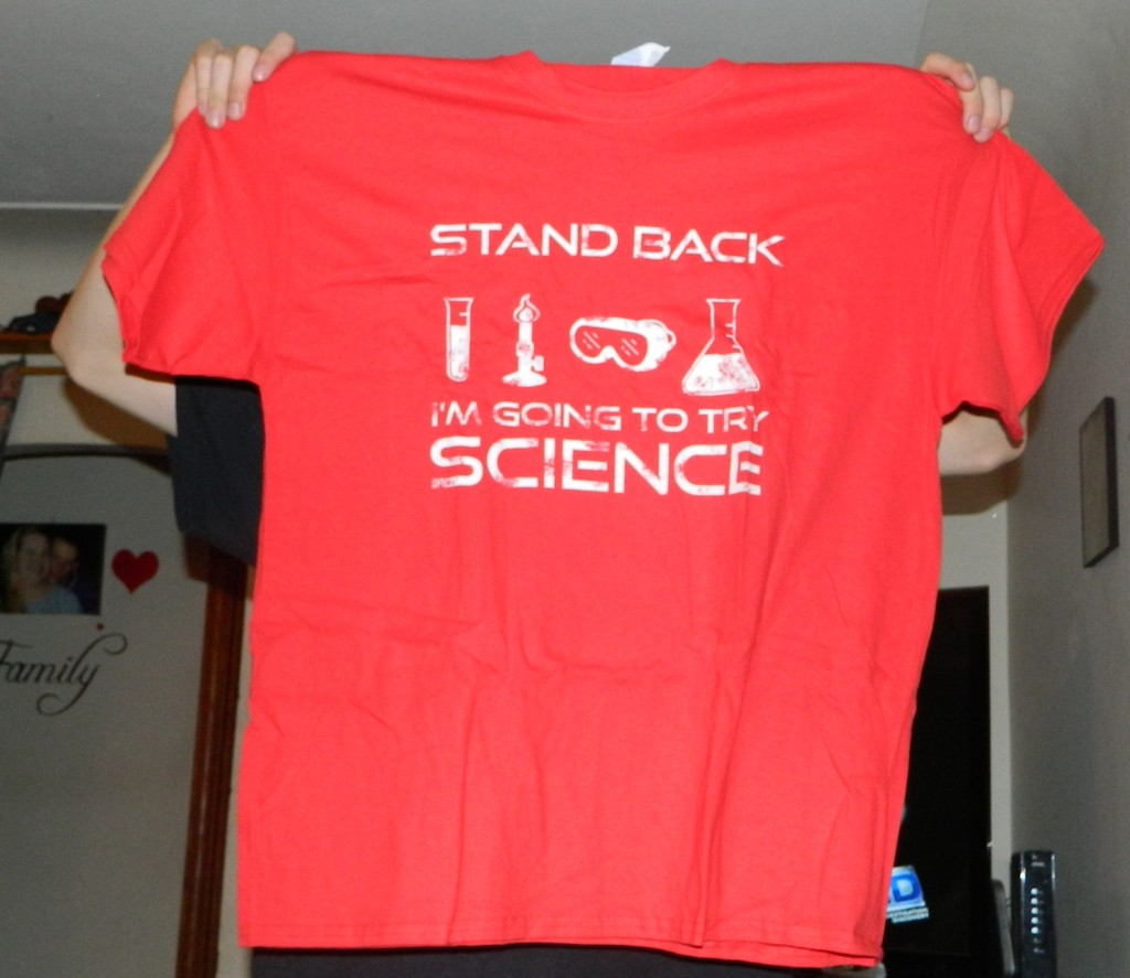 AW Fashion's Stand Back I am Gonna Try Science Funny Geek Men's T-Shirt
